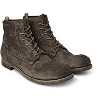 Officine Creative Topo Distressed Suede Boots Dark Gray