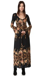 Free People Midnight Garden Maxi Dress Black Combo