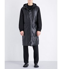 Mcq By Alexander Mcqueen Hooded Leather And Shell Jacket Darkest Black