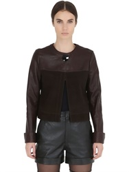 Calvin Klein Collection Patchwork Nappa And Suede Leather Jacket