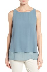 Eileen Fisher Women's Tiered Silk Georgette Tank Blue Steel