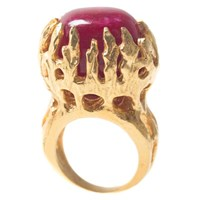 Charlene Court Ruby Corundum Talon Ring Gold