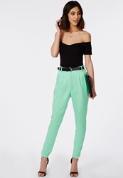 Missguided Uttara High Waisted Tailored Belted Trouser Mint Green