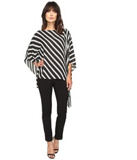 Vince Camuto Diagonal Stripe Poncho Rich Black Women's Coat