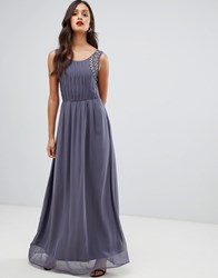 Ax Paris Pleated Maxi Dress With Embellished Detail Grey