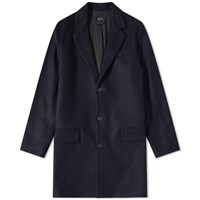 A.P.C. Majordome Wool Chesterfield Coat Blue