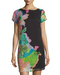 Maia Short Sleeve Floral Print Chiffon Shift Dress Black Multi