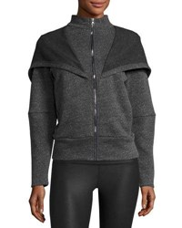 Alo Yoga Chill Hooded Zip Front Jacket Charcoal