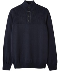 Austin Reed Yoke Knit Button Neck Jumper Navy