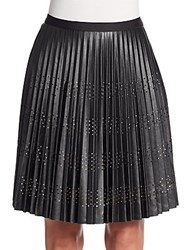 Catherine Malandrino Blair Pleated Perforated A Line Skirt Noir