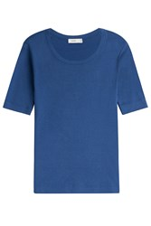 Closed Ribbed Jersey Shortsleeve Top Blue