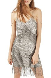 Topshop Women's Fringe Beaded Slipdress