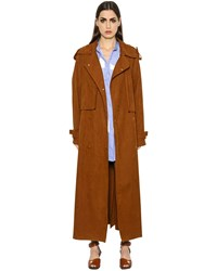Stella Mccartney Oversized Faux Suede Long Trench Coat