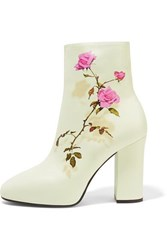 Dries Van Noten Floral Print Leather Ankle Boots White
