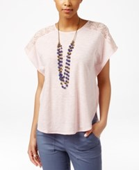 American Living Short Sleeve Lace Trim Top Only At Macy's Pink