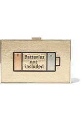 Anya Hindmarch Imperial Batteries Not Included Metallic Textured Leather Clutch Gold