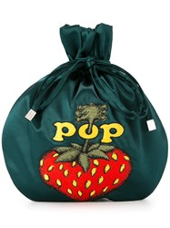Hysteric Glamour Pop Berry Drawstring Clutch Bag Green