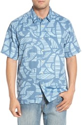 Quiksilver Waterman Collection Abst Seas Classic Fit Camp Shirt Blue Shadow