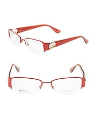 Gucci 50Mm Rectangle Optical Glasses Shiny Red
