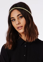 Missguided Double Woven Chain Headband Gold