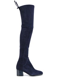 Baldinini Thigh High Mid Heel Boots Leather Suede Rubber Blue