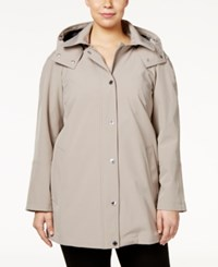 Calvin Klein Plus Size Hooded A Line Raincoat Thistle