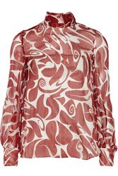 Miu Miu Tie Back Printed Silk Chiffon Blouse Red