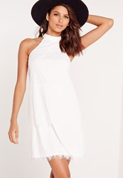 Missguided High Neck Lace A Line Shift Dress White White