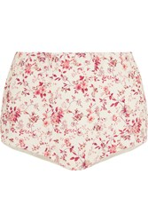 Etro Floral Print Cotton Shorts Red Cream