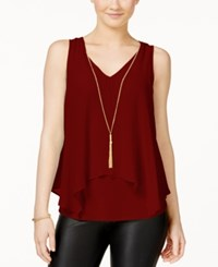 Amy Byer Bcx Juniors' Flyaway Necklace Tank Top Wine
