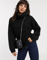 Topshop Jumper With Roll Neck In Black