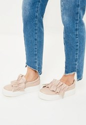 Missguided Nude Oversized Ruffle Trim Skater Pumps