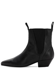 Underground Pointed Leather Boots Black
