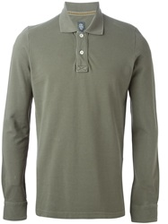 Eleventy Long Sleeve Polo Shirt Green