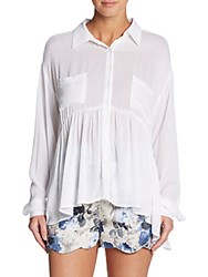 Lucca Couture Flounce Button Front Shirt White
