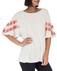 B Collection By Bobeau Jean Embellished Sleeve Knit Top Ivory