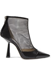 Jimmy Choo Kix 100 Fishnet And Patent Leather Ankle Boots Black
