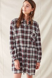 Urban Renewal Recycled Plaid Shirt Dress Maroon