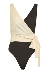 Topshop Petite Colour Block Wrap Body Monochrome