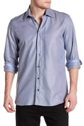 Sebastien James Long Sleeve Slim Fit Woven Shirt Blue