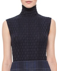 Akris Crinkled Sleeveless Turtleneck Top Starling