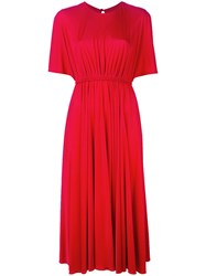 Valentino Pleated Midi Dress Red