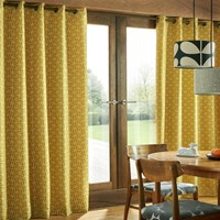 Orla Kiely Woven Acorn Cup Eyelet Curtains Dandelion Yellow