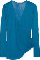 Kain Label Arabella Wrap Effect Modal And Silk Blend Top Cobalt Blue