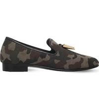 Giuseppe Zanotti Shark Tooth Canvas Loafers Khaki