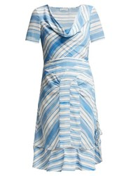 Altuzarra Lucia Striped Silk Midi Dress Blue White