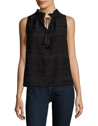 Lord And Taylor Petite Keyhole Sleeveless Embroidered Top Black