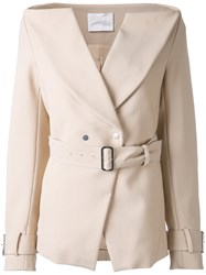Dion Lee Horizontal Trench Blazer Women Viscose 10 Nude Neutrals