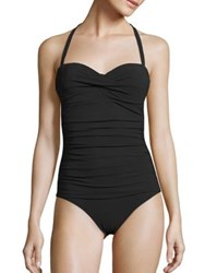 Heidi Klein Oslo Ruched Bandeau Control One Piece Swimsuit Black