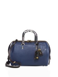 Coach Rogue Leather And Snakeskin Satchel Dark Denim